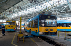 Trolley and bus depot and workshop Royalty Free Stock Photography