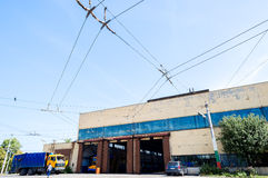 Trolley and bus depot and workshop Stock Photography