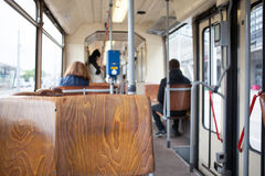 Trolley bus interior Stock Images