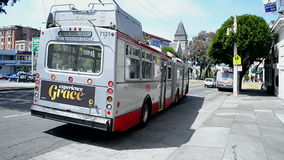 Trolley bus in San Francisco, California, USA,. SAN FRANCISCO - APR 19: Trolley bus on April 19, 2015 in San Francisco, California, USA stock video