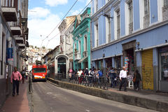 Trolley Bus Stop Plaza del Teatro in Quito, Ecuador Stock Images