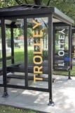 Trolley Bus Stop Public Transportation stock photos