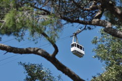Trolley, cable car entering the cliff above Gibraltar. Royalty Free Stock Photos