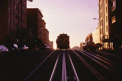 Trolley car. In twilight, CA Stock Image