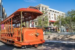 Trolley car at the Americana at Brand. Glendale, CA: May 8, 2018: Trolley car at The Americana at Brand, a luxurious retail and entertainment-based shopping Stock Photography