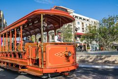 Trolley car at the Americana at Brand. Glendale, CA: May 8, 2018: Trolley car at The Americana at Brand, a luxurious retail and entertainment-based shopping Stock Image