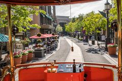 Trolley car at the Americana at Brand. Glendale, CA: May 8, 2018: Trolley car at The Americana at Brand, a luxurious retail and entertainment-based shopping Stock Photo
