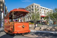 Trolley car at the Americana at Brand. Glendale, CA: May 8, 2018: Trolley car at The Americana at Brand, a luxurious retail and entertainment-based shopping Royalty Free Stock Images