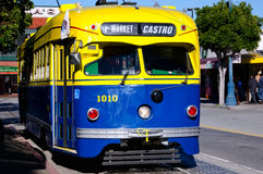 Trolley car, San Francisco. San Francisco Trolley Car moves through the street Stock Photo