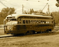 Trolley Car In Sepia Tone Stock Photo