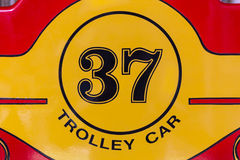Trolley Car Sign / Street Car Sign / Cable Car Sign. Number sign of retro and classic trolley car Royalty Free Stock Image