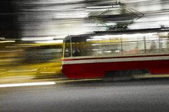 Trolley car. Streetcar, tram, trolley, streetcar, city, shot on a long exposure Royalty Free Stock Images