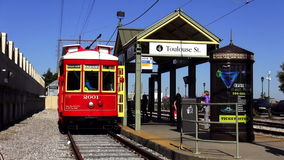 Trolley Car at Toulouse Street New Orleans New Orleans Louisiana. Trolley Car at Toulouse Street New Orleans City of New Orleans Louisiana USA stock footage