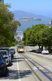 Trolley car traveling up Hyde Street in San Francisco, CA. Royalty Free Stock Images