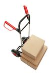 Trolley with cardboard boxes on white background Stock Photos