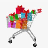 Trolley cart with gift boxes Isolated over white background Stock Photos