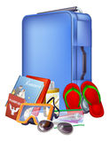 Trolley case and packing. Illustration of a blue modern trolley case and holiday items ready for packing Stock Images