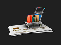 Trolley on the credit cards with gift packages. 3d Illustration isolated Black Stock Image