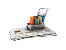 Trolley on the credit cards with gift packages. 3d Illustration isolated White Royalty Free Stock Photos