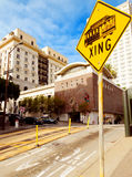 Trolley crossing sign. Yellow trolley crossing sign in San Francisco Stock Photos