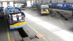 Trolley depot pan. Trolley car in the tram depot in Sofia, Bulgaria stock footage