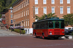Trolley and DeSoto House Hotel in Galena, Illinois. A trolley stops at the historic DeSoto House hotel in Galena, Illinois. The DeSoto House was the headquarters Stock Photo