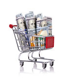 Trolley with dollar Royalty Free Stock Photos