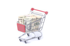 Trolley with dollars Royalty Free Stock Photo