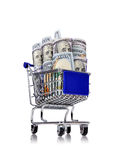 Trolley with dollars Royalty Free Stock Photos