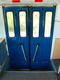 Trolley door. A trolleybus door from inside Royalty Free Stock Photography