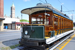 Trolley in downtown Lowell, Massachusetts. Antique Trolley in old downtown Lowell, Massachusetts, USA Stock Image