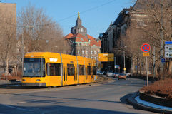 Trolley In Dresden, Germany. Trolley on city street of Dresden, Germany Royalty Free Stock Image