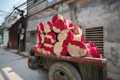 Trolley with dried incense sticks in trade village in north of Vietnam stock photos