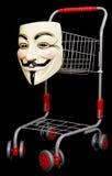 trolley för shopping för fawkesgrabbmaskering Royaltyfri Foto