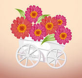 Trolley and flower. A group of red flower in a white trolley Stock Photo