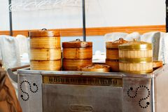 A trolley of food in a dim sum restaurant stock images
