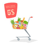 A trolley with food in the store. Stock Photo