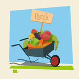 Trolley With Fresh Vegetable Harvest Shop Eco Farming Stock Image