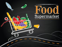 Trolley full of delicious food driving on the road Stock Photography