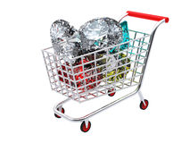 Trolley full of diamonds Royalty Free Stock Images