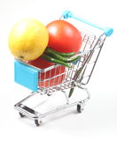 Trolley full of fruit and vegetables Stock Image