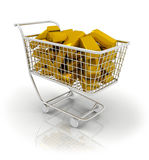 Trolley full of gold bar Stock Image