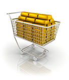 Trolley full of gold bar Stock Images