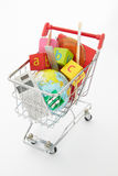Trolley full of items for school royalty free stock photo