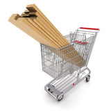 Trolley full of lumber Stock Photo