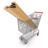 Trolley full of lumber. 3d rendering Stock Photo