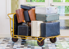 Trolley full of old luggage Royalty Free Stock Photo