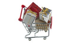 Trolley full of presents Stock Photography