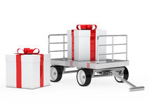 Trolley with gift box Royalty Free Stock Photography
