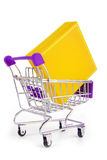 Trolley with gift box Royalty Free Stock Images